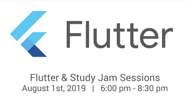 Flutter Study Jam Event Aug 1 6-8:30 pm